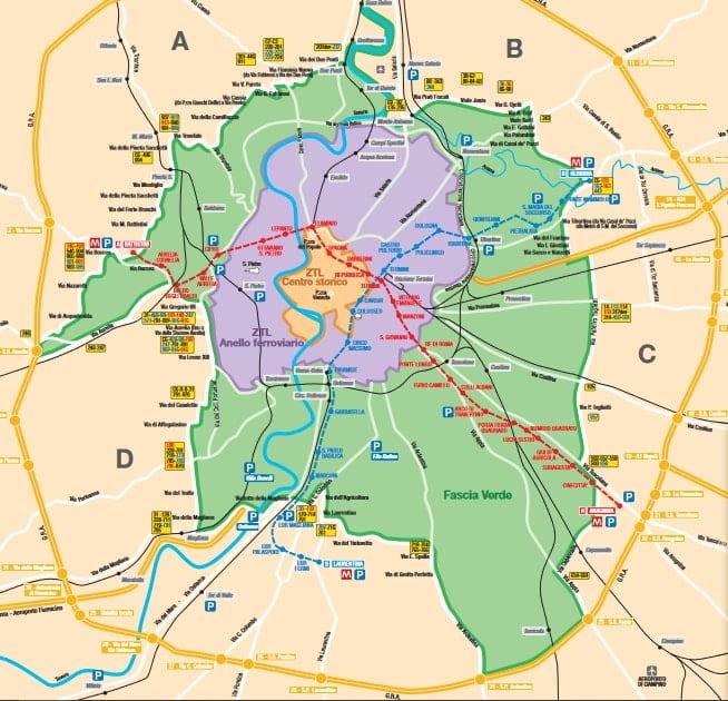 Blocco traffico a Roma del 18 novembre 2018 mappa fascia verde